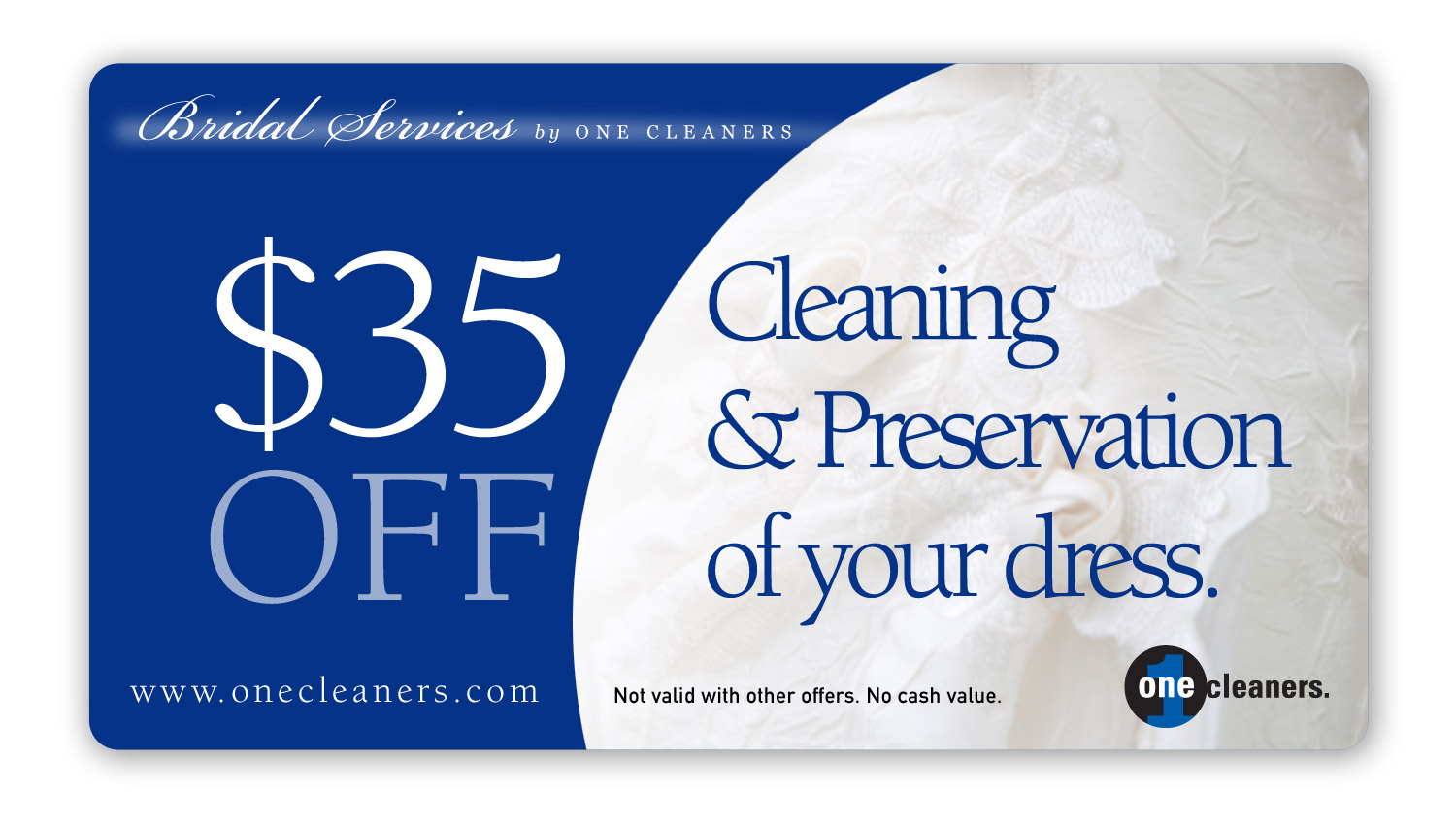 $35 off cleaning and preservation of your wedding gown